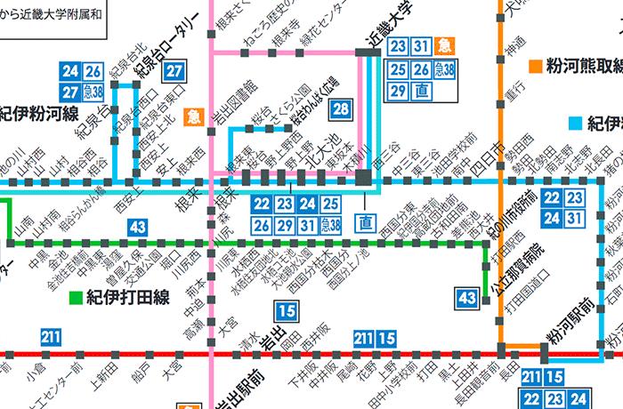 和歌山バス那賀 運行系統図